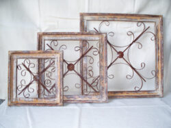 WOOD-414 WOOD &WIRE SQUARE WINDOW 3pc SET